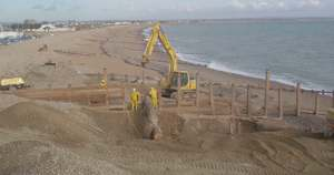 One of the few new groynes being constructed at Old Martello Road