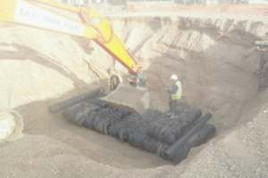 The first layer of tyre bales at the bottom.