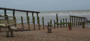 Disintegrating groyne on the Cooden frontage in 2002