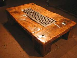 Table made from old groynes