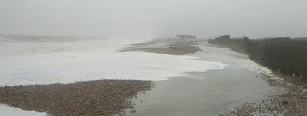 Waves crossing Herbrand Walk towards the Hastings railway line